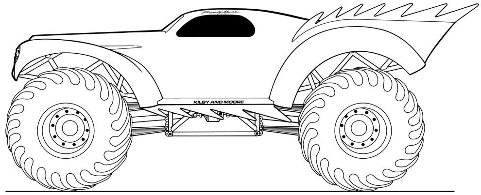 monster truck transporte  colorear dibujos gratis