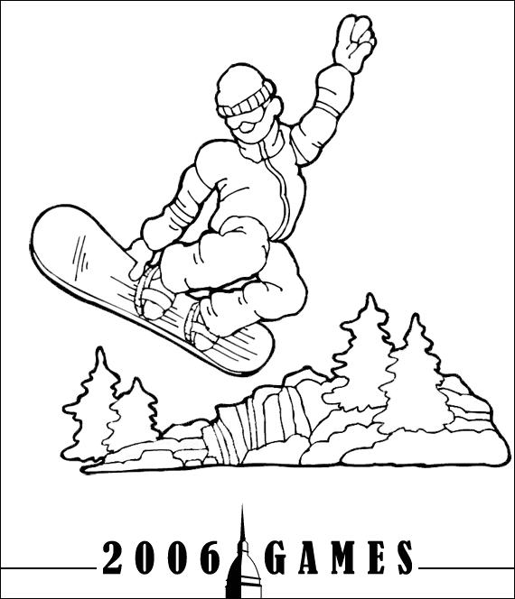 snowboard transporte  colorear dibujos gratis