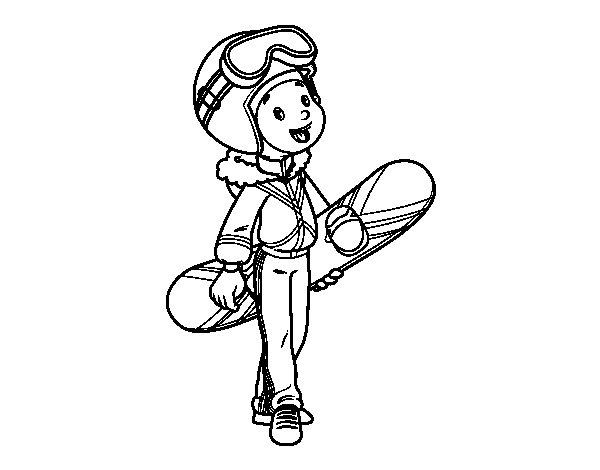 snowboard 40 transporte  páginas para colorear